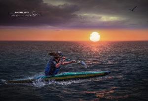 Kajakfahrer sunset